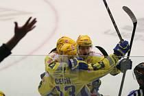 Radost hokejistů Zlína ze vstřelené branky