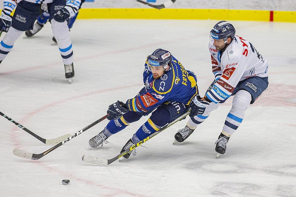 Hokejisté Zlína (v modrém) v úterý večer na Zimním stadionu Luďka Čajky vyzvali Bílé Tygry z Liberce. Na snímku Fryšara. Foto: pro Deník/Jiří Zaňát