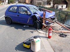 Nehoda Opelu Corsa ve Slavičíně
