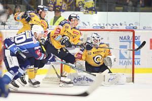 Extraligoví hokejisté PSG Berani Zlín (ve žlutém) po reprezentační přestávce v rámci 21. kola doma hostili Kometu Brno.