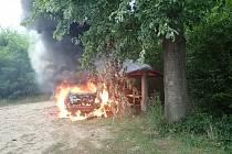 Požár osobního vozidla, Tlumačov-Hrabůvka, 31. srpna 2020.