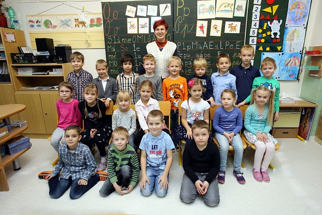 Třída 1.B zlínské Základní školy Křiby střídní učitelkou Blankou Hlavenkovou.