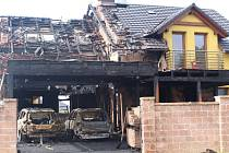 Požár rodinného domu ve Hvozdné.