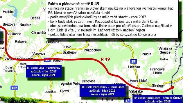 Plánovaná rychlostní komunikace R 49. Plná mapka uvnitř článku jako infografika.