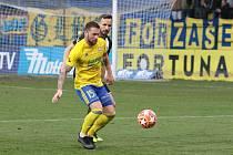 Fotbalisté Zlína (ve žlutých dresech) ve 22. kole FORTUNA:LIGY podlehli Českým Budějovicím 2:3. Na snímku je Antonín Fantiš