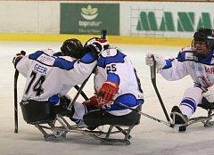 Ve Superfinále sledge hokejové ligy vyzval vítěz základní části Lapp Zlín (v černém) druhé Sharks Karlovy Vary.