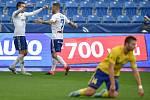 Utkání 12. kola první fotbalové ligy: Baník Ostrava - Fastav Zlín, 5. října 2019 v Ostravě. Na snímku (zleva) Rudolf Reiter a Martin Fillo, (popředí) Martin Cedidla.