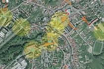 Pod dohledem systému budou ve Vizovicích oranžově a žlutě vyznačené plochy.