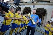 Oslava vítězství  fotbalistů FC FASTAV Zlín  v poháru MOL CUP  na náměstí Míru ve Zlíně.