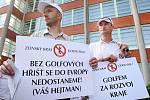 Protest starostů před zlínskou jedenadvacítkou