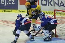 Utkání hokejové extraligy dorostu Zlín (žlutí) – Vítkovice 3:4 po samostatných nájezdech