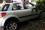Osobní automobil narazil do stromu, který poté zablokoval dveře spolujezdce. Žena, která na místě seděla, byla odvezena do nemocnice.