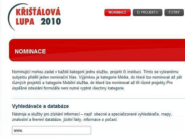 Křišťálová lupa 2010 - nominace