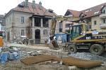 Ve Zlíně se zřítila část neobydleného domu. Ulice Sokolská je dočasně uzavřena