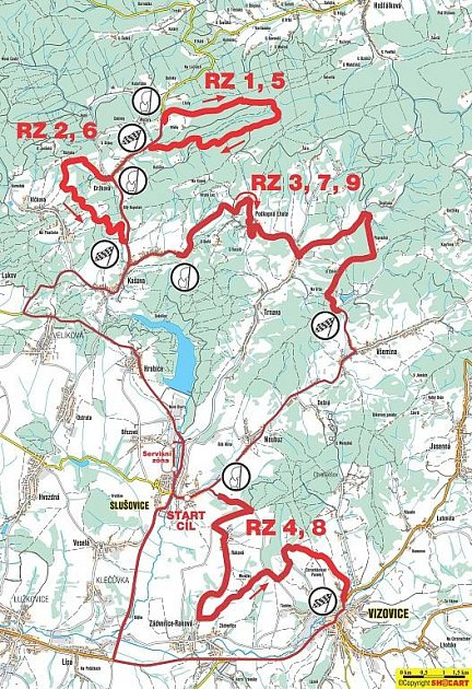 Mapka tras RZ Rallysprint Kopná 2009.