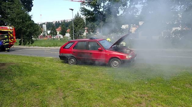 Požár automobilu ve Zlíně
