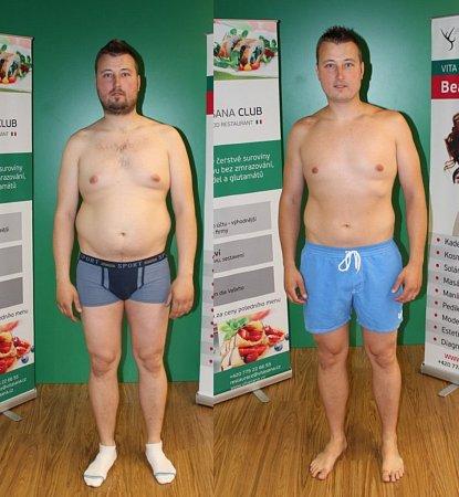 Martin Vopatřil. PŘED: Váha 107,8kg  PO: Váha 95,2kg