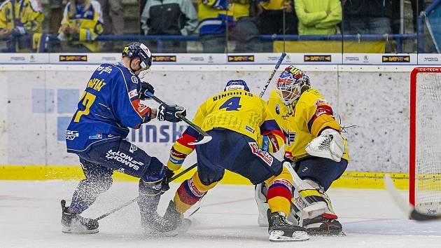Hokejisté Zlína (v modrých dresech) ve 3. kole Tipsport extraligy hráli s Českými Budějovicemi.