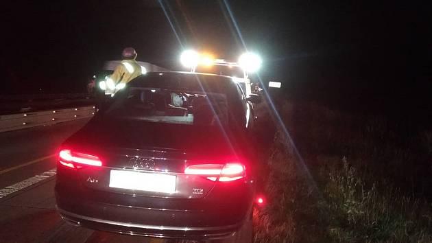 Nehoda auta s Jiří Čunkem na D1
