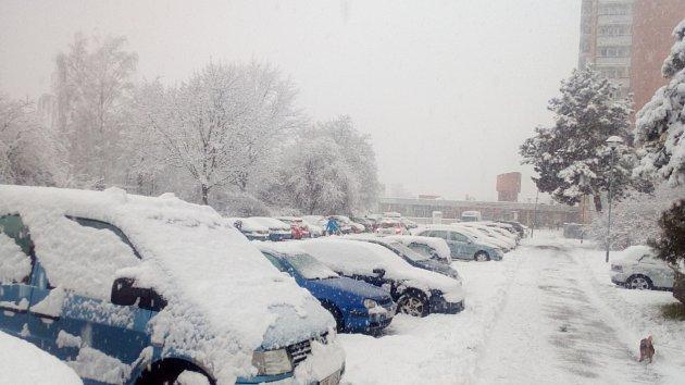 Sněžení ve Zlínském kraji 28. 1. 2019