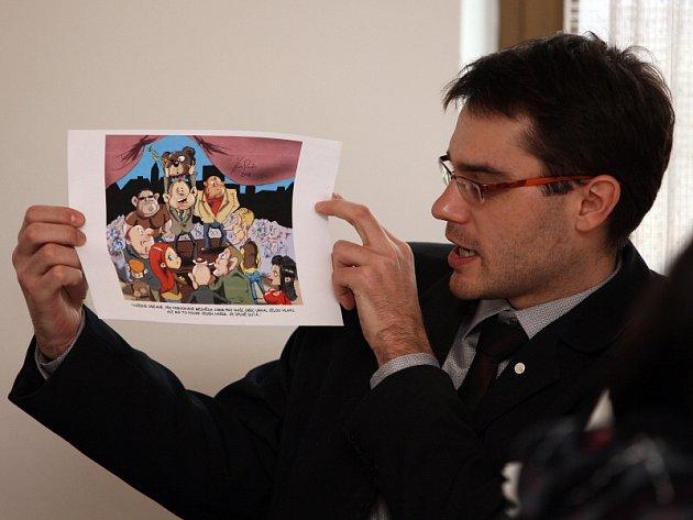 Své postoje prezentovali starostové i formou kresleného vtipu.