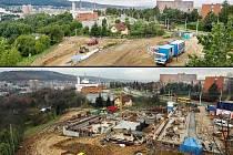 Stavba koupaliště na zlínském sídlišti Jižní svahy pokračuje plným proudem. (snímek srovnává stavbu z 19. července – nahoře a z 12. listopadu – dole)