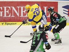 Extraligoví hokejisté Zlína (ve žlutém) vyzvali v rámci 17. kola Mladou Boleslav. Na snímku Goiš