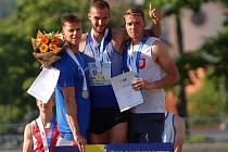 Desetibojař Jiří Doležal (uprostřed) společně s druhým Markem Lukášem (vlevo) a Ondřejem Kopeckým.