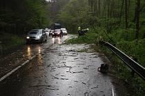 Vyvrácené stromy ve středu odpoledne komplikovaly provoz na silnici mezi obcemi Horní Lhota a Zádveřice.