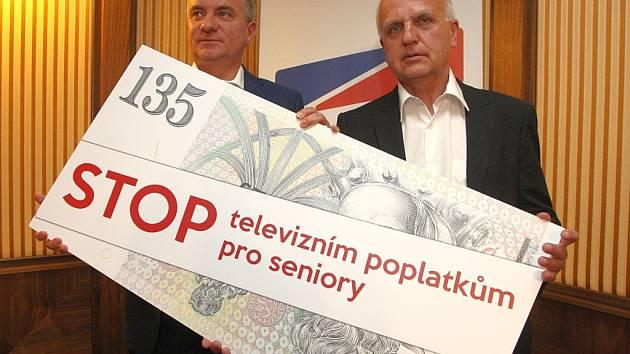 Tisková konference Strany práv občanů v hotelu Baltaci ve Zlíně.
