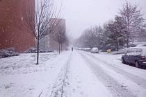 Sníh ve Zlíně. Ilustrační foto