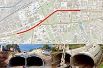 Předpokládaná trasa. Kvůli ulehčení dopravy ve městě, zvažují zlínští radní vybudování tunelu na nejfrekventovanější trase v centru. Dole ilustrační snímky tunelů v San Rafael a San Jose.