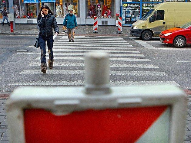 Bývalý frekventovaný přechod ve zlínské Dlouhé ulici