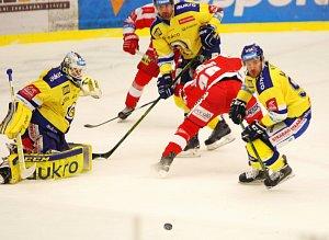 Hokejisté Aukro Berani Zlín se ve 46. kole extraligy postavili Olomouc