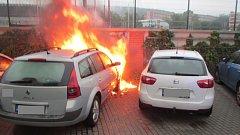 Požár auta v Hradské ulici ve Zlíně