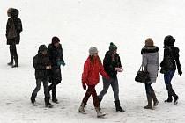 Sníh na náměstí ve Zlíně