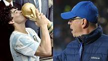 Diego Maradona s trofejí mistrů světa (1986) a trenér Zlína Bohumil Pánik