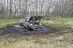 Osobní vůz shořel v Zádveřicích před zraky majitele.