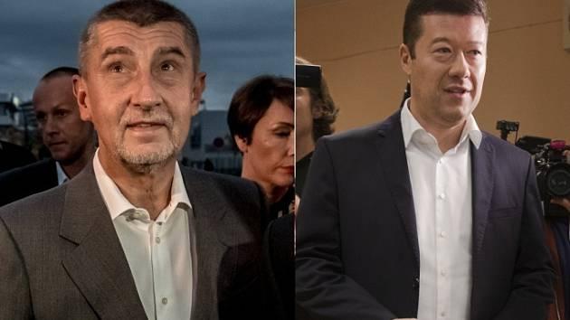 Zleva: z volebních štábů Andrej Babiš (ANO 2011) a Tomio Okamura (SPD).