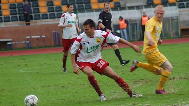 FK Baník Sokolov – FC Fastav Zlín (v bílém). Ilustrační foto.