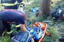 Vrtulník záchranářů zasahoval v pátek Halenkově na Vsetínsku, kde spadl strom na muže.