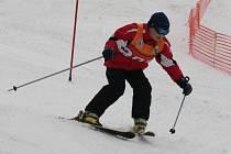 Lyžařské závody ve slalomu v Trnavě na Slušovicku.