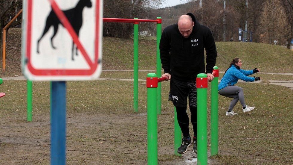 Workoutové hřiště ve Zlíně, březen 2021