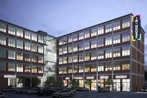 Vizualizace budovy 64 v továrním areálu po revitalizaci společností Cream.