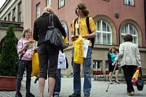 Finance pro lidi nemocné rakovinou sbírali ve středu v českých městech dobrovolníci výměnou za notoricky známý symbol této dobročinné akce žlutou květinu.