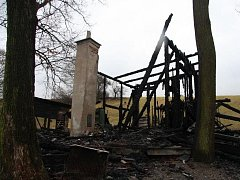Požár chaty u Luhačovic.