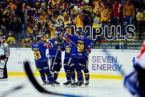 Hokejisté Zlína (modré dresy) v 17. kole Tipsport extraligy vyzvali Kometu Brno.