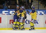Zlínští hokejisté (ve žlutých dresech) ve 33. kole české extraligy hostili Plzeň.