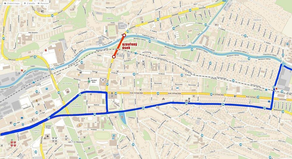 Trasa linky 2 během sobotního Festivalového půlmaratonu