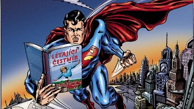 SKLIDILA ÚSPĚCH. Tisková reklama se Supermanem, který čte Létajícího Čestmíra, se líbila dětské i odborné porotě.